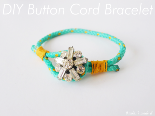 DIY Easy Wrapped Cord Button Bracelet Tutorial from Thanks, I Made It here. Really easy and excellent tutorial from Erin. Best part? Most of us have the materials needed on hand. For more than 80 pages of DIY bracelets go here: truebluemeandyou.tumblr.com/tagged/bracelet