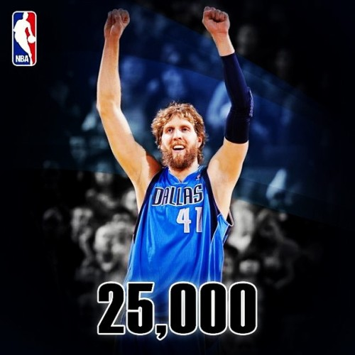 Congrats to the big homie, Dirk Nowitski!!! 25,000 points. 17th man to do it. He's an all around stud! Plus, since their over.500 now, he can shave that ridiculous beard! #mavericks #dallas @dallasmavericks @DirkNowtski #nba #25000pointclub