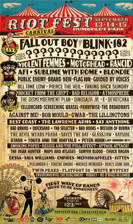 bryanstars:  Riot Fest has announced their 2013 lineup which will include Fall Out Boy, Blink-182, All Time Low, Pierce The Veil, The Devil Wears Prada and many more! Check out the rest of the lineup above!