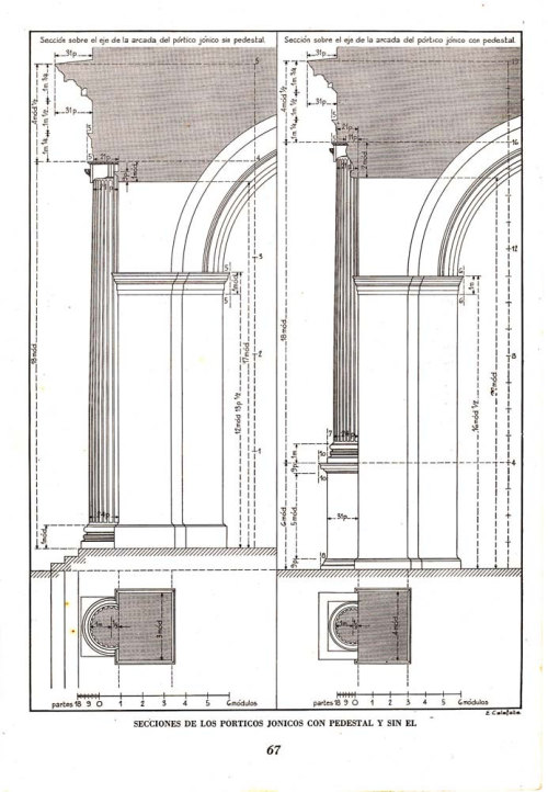 Ionic  Porticos with and without Pedestal Vignola Classic Architecture Illustration1948 at CarambasVintage http://etsy.me/13VNSnE