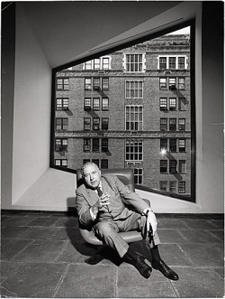 Meet Marcel Breuer: architect, Bauhaus grad, and designer of a chair inspired by his bicycle's handlebars. Marcel Breuer in the Whitney Museum of American Art, 1964 / Marc Bernheim, photographer. Marcel Breuer papers, Archives of American Art, Smithsonian Institution.