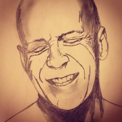 "#sketchaday - Day 320: ""Bruce Willy"" #portrait #BruceWillis #DieHard #Looper #Red #FifthElement"