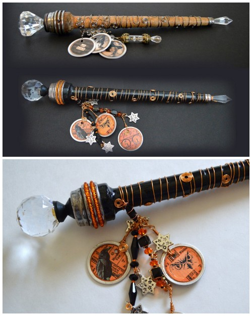 truebluemeandyou:  DIY Magical Wand Tutorial from Seeing Things here. This is one of the best written and organized tutorials I've ever read from supplies to sources to instructions. I am blown away by the amount of work this post must have taken. These wands are made from wooden bobbins, knobs, beads, wire etc…