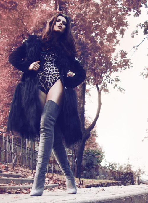 fashion-boots:  Eliza Pawlik in grey thigh-high boots, by Jacek Zajac styled by Sara Milczarek