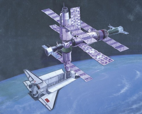 Soviet Space Station and Shuttle In the mid-1980s, Moscow announced plans to have a large, permanently manned space station orbiting the Earth in the 1990s. They launched MIR, the core vehicle of a modular space station, in February 1986. The Soviets planned to use the space shuttle orbiter, then in development, to carry payloads and assist in the assembly of the space station.