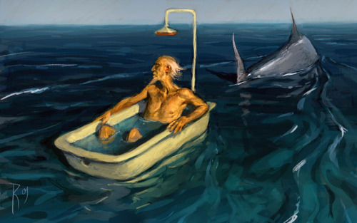 """ Old Man and Sea ""  …  Artist:  Waldemar Kazak"