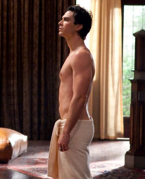 theloveofasalvatore:  Because you always need Damon in a towel on your dash ;)