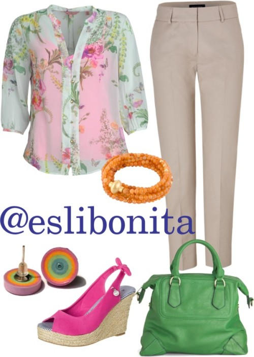 Spring-ish by esli-medrano featuring bead jewelryTed Baker sheer shirt, $150 / Piazza Sempione  pants / AMY GEE , $38 / Shoulder bag / Red bracelet, $79 / Bead jewelry