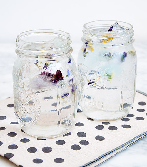 Violet Ice Cubes | Design Sponge I know some people might think flowers in ice cubes is a little frivolous, but they're so pretty that maybe it's worth it! Perfect to pretty up Summer drinks (just make sure the flowers are edible - you don't want to add flowers that might have been sprayed with insecticide to your drinks!)