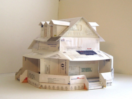 Dream House paper house made entirely from unopened credit card applications by Jeremiah Johnson (via MAKE | JJ-Dream-House-1)