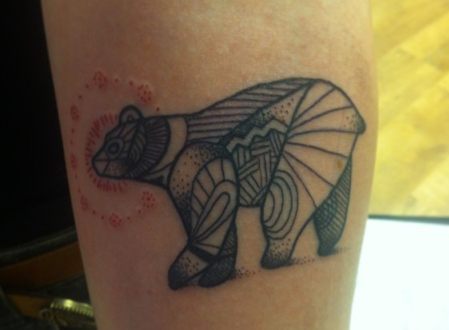 Patterwork bear on forearm.  Jessi James 2013.