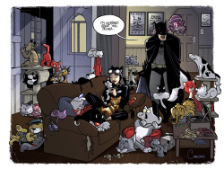 tbplteenzone:  This is so great. I love that Cheshire Cat over Batman's shoulder :) Click through to the artist's page for a rundown of all the cats and cat-paraphernalia in the picture.