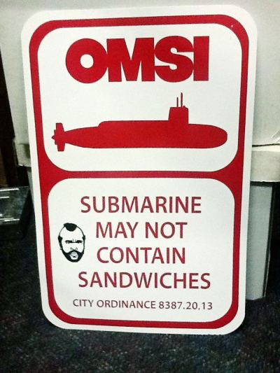 waytoomuchportland:  This sign was glued to the dock outside the sub. To whoever went through the effort of designing, making, and displaying this sign - I applaud you.