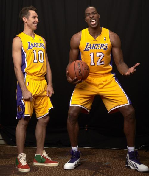 siphotos:  Steve Nash and Dwight Howard joke around before a Oct. 2012 SI photo shoot for the NBA Preview Issue. The Lakers are currently 36-35 and in eighth place in the Western Conference playoff race. (Peter Read Miller/SI) GALLERY: Rare Photos of Steve Nash | Dwight Howard