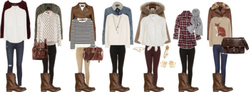 thepolyvorecollection:   How to wear brown boots by thepolyvorecollection featuring hudson jeans   I would wear every single outfit.