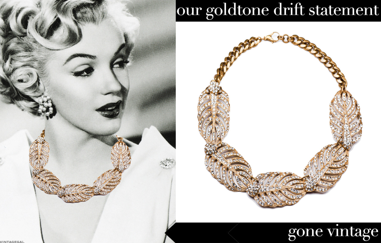 Modvin Mash-up  Marilyn wears our Goldtone Drift Statement necklace well, right?