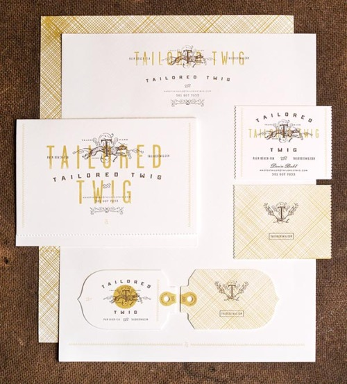 weandthecolor:  Brand Design Amazing brand design for Tailored Twig consisting of logo creation, offset litho, full packaging system, letterpress and engraved stationery. All designed by Funnel, the commercial art practice of Eric Kass. More images of the brand design on WE AND THE COLOR Facebook // Twitter // Google+ // Pinterest