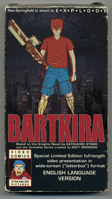 "Coming soon on VHS… on Flickr. Working on the BARTKIRA covers gave me flashbacks of the first time I saw AKIRA on VHS. 1990: I was a 6th grade geek spending every Wednesday at Mint Condition Comics in Port Washington, NY. A mysterious VHS, with an arrestingly simple cover, appeared suddenly behind the glass counter below the cash register. I was already aware of manga/anime [Robotech, Nausicaa, etc…], but Epic Comics' AKIRA seemed like an anomaly since it featured distinctly asian characters. Until seeing that VHS in the store, I had NO idea that an animated adaptation existed!I spent weeks saving up my modest allowance to purchase the astronomically-expensive $40 video, excited only by my shock of an entire movie created from (what I thought was) an ""obscure"" comic. I was fortunate to have over a month pass as that exotic VHS tape remained un-purchased by the superhero fans of Long Island. I finally spent my small fortune and zoomed home on my bike. That first viewing was one of my scarce ""veil-lifting"" moments. The visceral experience of seeing Akira with no context has stuck with me to this day (although I was probably WAY too young to be seeing it). 1990 was also the year that The Simpsons' first season took the world by storm. So this BARTKIRA mashup, concocted by talented artists Ryan Humphrey and James Harvey, is a hilariously nostalgic trip for me. I salute them for galvanizing me, and the hundreds of other artists, to take fanboy tributes to ridiculous heights. PS: I promise this VHS butchering is the LAST Bartkira drawing I post! Thanks again for all your ""likes"" and reposts. PPS: The original AKIRA release is the only VHS tape left on my shelf. The original Streamline Pictures dub holds a special place in my heart."