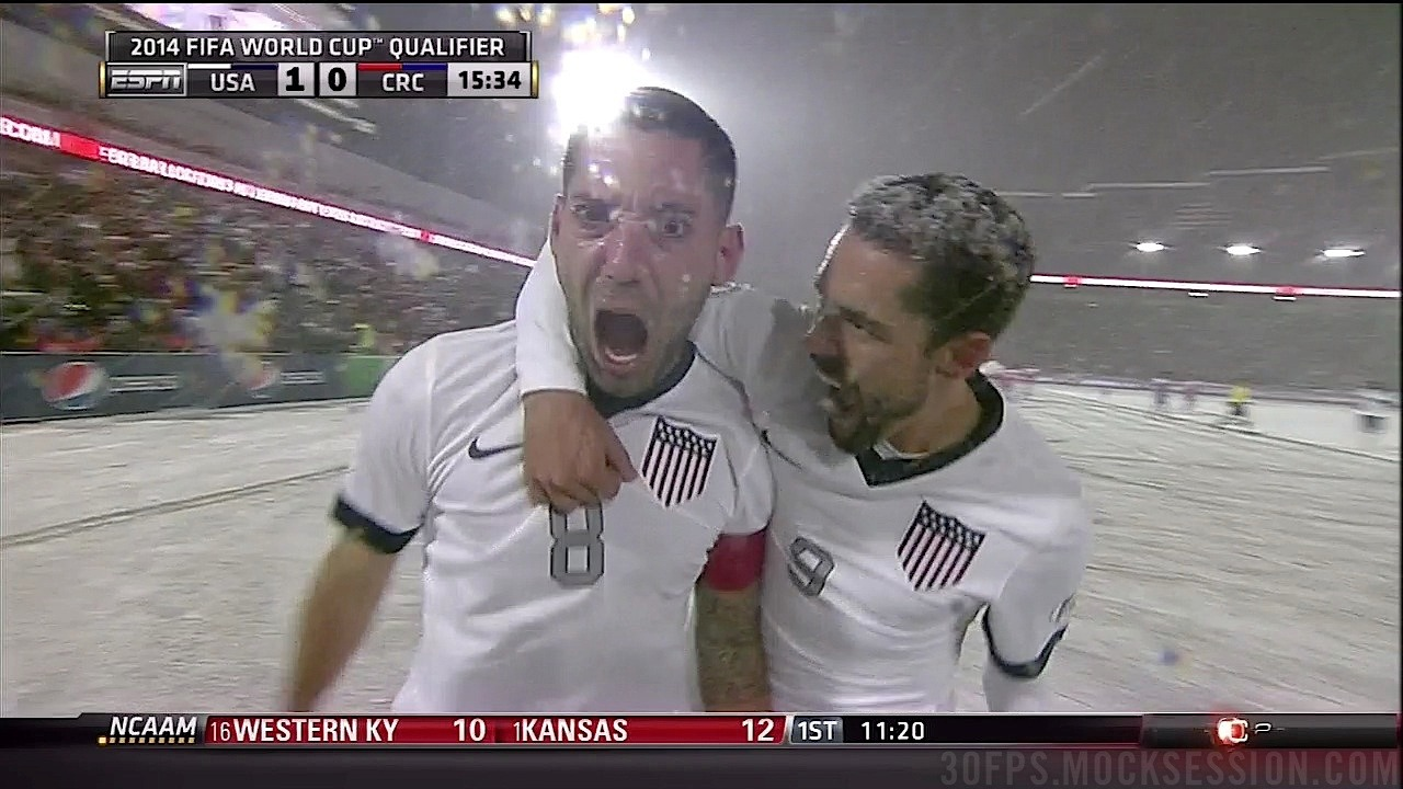 "theworldsgame:  SHOW US YOUR GOALFACE, CAPTAIN AMERICA. USA 1-0 Costa Rica, Dempsey 16"" (screencap via mocksession)"