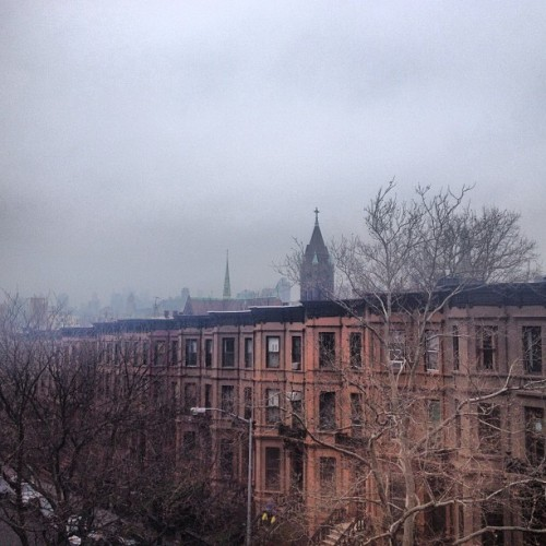 A foggy view from Brooklyn. Bagels with the girls will make this morning better.