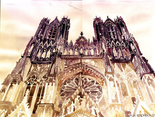 Watercolor Cityscapes by Maja Wronska - Notre-Dame de Reims, France