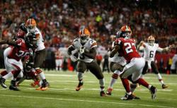 kickoffcoverage:  Cundiff's late field goal gives Browns 26-24 win over Falcons -Josh Gordon picked right up where he left off for Cleveland.Fortunately for the Browns, Brian Hoyer had a short memory.Gordon turned in a huge performance in his first game of the season, catching eight passes for 120 yards, and Hoyer shook off three interceptions to lead a drive in the final minute that set up Billy Cundiff's 37-yard field goal as time expired Sunday, giving the Browns a 26-24 victory over the Atlanta Falcons.Taking advantage of the last of Hoyer's picks, the Falcons drove for Matt Bryant's 53-yard field goal with 44 seconds remaining to seize the lead.Turns out, they left too much time on the clock.Hoyer completed four straight passes, including a 24-yarder to Gordon down the middle of the field. The last of the throws went to Miles Austin, who took it to the Falcons 19. The Browns (7-4) hustled to the line, spiked the ball with 5 seconds left, and sent on Cundiff for his fourth field goal of the game.The Falcons (4-7) came in on a two-game winning streak and improbably tied for first with New Orleans in the woeful NFC South.But, with another fourth-quarter meltdown, Atlanta dropped to 0-7 against teams outside its division.Georgia native Isaiah Crowell scored a pair of touchdowns for the Browns, but it was Gordon who had the biggest impact.After serving a 10-game suspension for violating the league's substance abuse policy, he started for Cleveland and was targeted a game-high 16 times.The longest catch was his last one, taking the Browns to the Atlanta 45. Hoyer followed with a 15-yard completion to tight end Gary Barnidge, who bounced off a couple of tacklers to pick up some extra yards. Then Austin hauled in an 11-yarder that set up Cundiff for the winning kick.He also connected 33, 37, and 32 yards.Hoyer, who was 23 of 40 for 322 yards, nearly gave it away for the Browns. The first of his picks turned the momentum in Atlanta's favor, leading to a touchdown that put the Falcons ahead 14-13 at halftime when it looked as though Cleveland might have a commanding lead.In the fourth quarter, the Browns had first-and-goal at the Atlanta 6 and a chance to make it a two-score game when Hoyer, after scrambling out of trouble, inexplicably threw it up for Gordon in the back of the end zone instead of just throwing it away. Desmond Trufant made a leaping interception to keep Cleveland's lead at 23-21.Atlanta was forced to punt with just under 4 minutes left, and Hoyer made another huge mistake. This time, he floated a deep pass down the sideline, only vaguely in Gordon's direction, and Dezmen Southward made his first career interception.Matt Ryan guided the Falcons into Bryant's range, but there were again some clock-management issues. On third-and-2 at the Cleveland 35, they went with a pass that was batted down, stopping the clock. That gave the Browns enough time to win it even after Bryant's field goal.Crowell, who spent one troubled year at the University of Georgia before being kicked off the team, rushed for 88 yards on 12 carries. He scored on runs of 11 and 26 yards.Ryan threw a pair of TD passes, to Julio Jones and Jacquizz Rodgers, but also had an interception and a fumble.