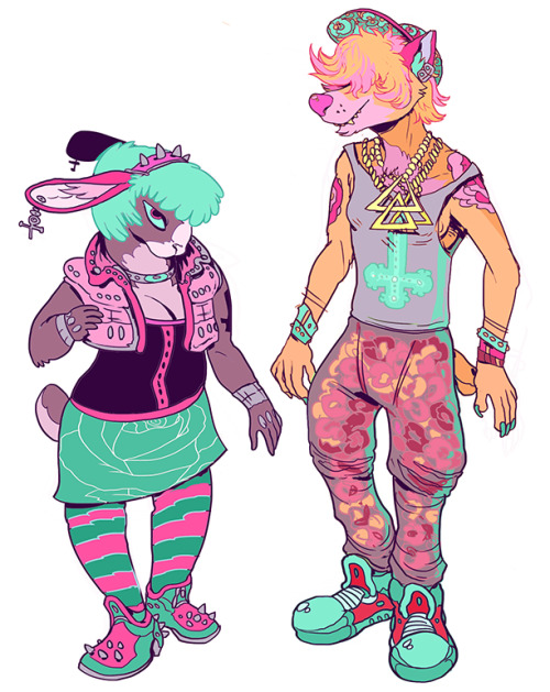 puppytube:  power couple sometimes i draw clothes i wish i had i am eager to post stuff that isn't characters just kinda standin around in white space but for now have these garish animals