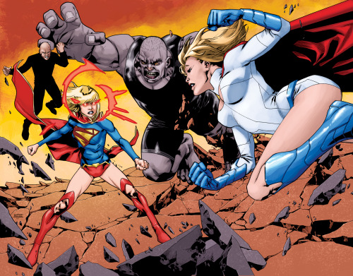 Supergirl #19 Cover.This is the full gatefold cover for issue #19 revealing Powergirl. You can also see the colour version by Daniel Brown. I drew the two figures behind Kara digitally and added them later. You can see the original image used in the solicitations here.