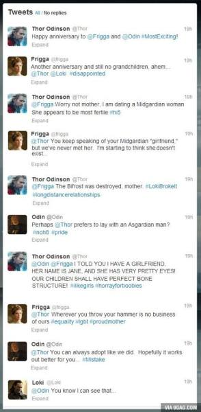 twitter tweet tom hiddleston Chris Hemsworth Thor Marvel loki Odin frigga genious laughstuff