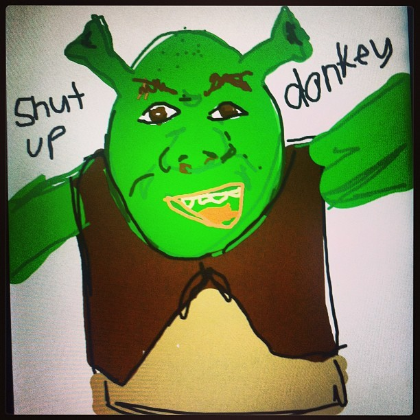 Getting my #shrek on in #drawsomething #fun #art #funny #SHUTUPDONKEY