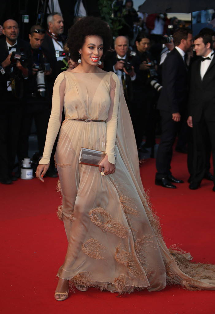 Solange Knowles in Stephane Rolland at the Cannes Fim Festival for the Great Gatsby Premiere.