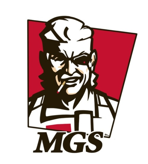 welovegameznoir:  Why MGS? Cause it's finger lickin' good! If you ask me about my 11 herbs and spices I'm a have to make like a snake and bite yo ass. If you fine, I'll just shoot you with the tranquilizer gun. lmao (via MGS:KFC by E-Mann.deviantart.com | Happy Gaming)