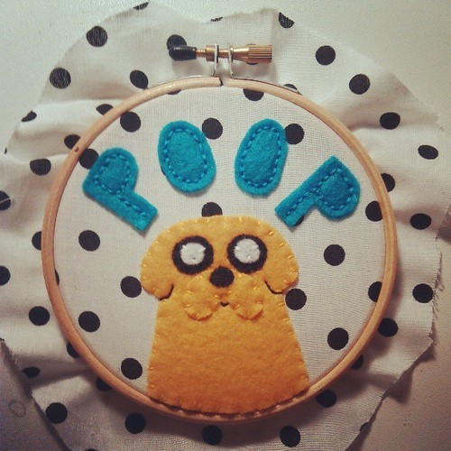 Jake the Dog Embroidery Hoop by *chelpanda