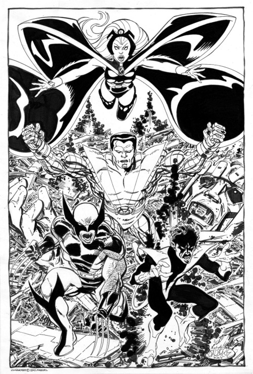 X-Men Vs Sentinel commission by John Byrne. 2010.