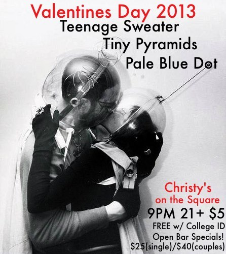 Pale Blue Dot is playing a Valentines Day show next week in Santa Rosa with Teenage Sweater and Tiny Pyramids, plus the bar will be having these amazing Valentines Day Entry Specials!