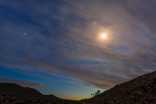 Twilight Stars and Crescent Moon Setting in Death Valley by Jeffrey Sullivan on Flickr.