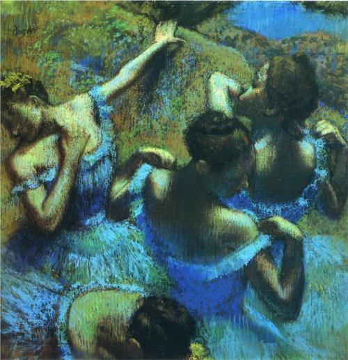 theartgeeks:  Blue Dancers ~ Edgar Degas
