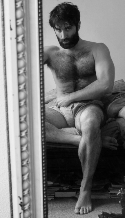 thedeerking:  realmenstink:  HOT HAIRY WOLF !!!  fans self  Uh-oh. He's thinking that you will definitely be getting a spanking later.