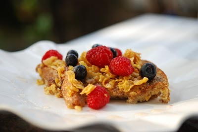 Cinnamon Crunch French Toast  For those mornings when I crave something sweet - this version of French Toast is full of crunch and spices without all the fat and calories. Topping it with fresh fruit takes away any need for syrups or sweeteners. To get into the best shape you can be, visit www.jaydenicole.com Cinnamon Crunch French Toast 4 egg whites 1/2 C fat-free milk 1 tsp cinnamon 1/2 tsp each of nutmeg, salt and flax seeds 1 C of Special K or Cornflake cereal 4 slices of low-fat bread 1 C of sliced fruit-strawberries, blueberries, mangoes, raspberries or whatever you have 2 tsp of low-fat butter substitute Directions: Mix the egg whites, milk, cinnamon, nutmeg and salt in a wide flat dish. Mix the cereal and flax seeds in a separate wide flat dish. Dip the bread slices into the egg mixture and let soak for a minute or two, and then coat both sides with the cereal mixture. Add 1 tsp of butter substitute to a non-stick skillet and add 2 pieces of the coated bread on medium heat and cook for about 2 minutes a side. Repeat with the next two pieces. Top with fruit. Serves 2.
