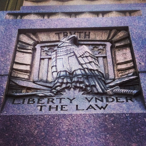 Truth and liberty under the law. #dtla #history #architecture #art #america #losangeles  (at The LA Times Building)