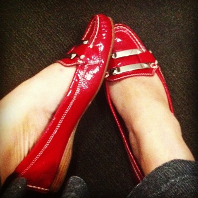Friday shoe post: Red patent leather loafers On a side note:  Just came back from Costco and bought myself a pair of $18 black w/ white polka dots rain boots.  They're too cute and I can't wait to wear them.