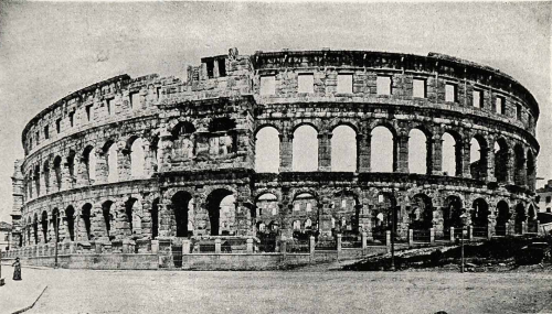 The Pula Arena, Croatia  The Arena is the only remaining Roman amphitheatre to have four side  towers and with all three Roman architectural orders entirely preserved. It was constructed in 27 BC - 68 AD and is among the six largest surviving Roman arenas in the World. A rare example among the 200 Roman surviving amphitheatres, it is also the best preserved ancient monument in Croatia.