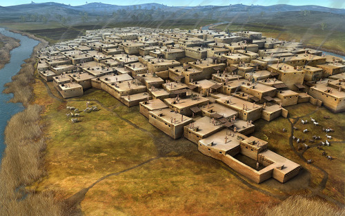 Catalhöyuk, Acivilization from 7,500 B.C. Oldest than the the civilization of Ur. Located on the southeast are of what today is Turkey.  This civilization is before the invention of streets and blocks so the villages didn't have any streets and all houses were stuck together as in a hive style.  To go around one needed to go through the roofs.