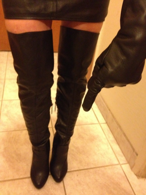 divinelycaged:  barronis:  I SAID GET DOWN AND KISS MY BOOTS!! If you are good, I will let you feel and smell the leather of my gloves on your face and on your ass. They feel and smell so good!  Yes Mistress!
