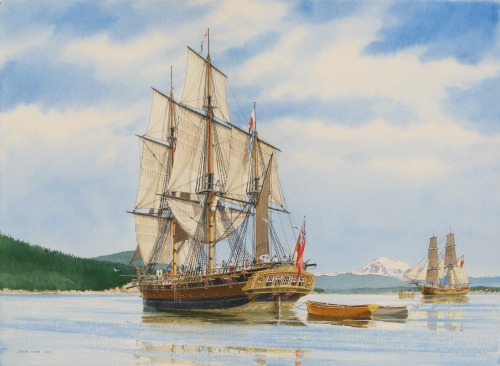 HMS Discovery & Chatham Becalmed June 9, 1792, depicted here in Puget Sound in watercolour by Captain Steve Mayo in 2012. This is a little out of our jurisdiction, but we could just as well imagine these ships making their way into Burrard Inlet. He blogs about the painting here:   My painting shows the two vessels around 3:00 as the wind died off in the middle of Rosario Strait with Mt. Baker in the background. The south part of Cypress Island is prominent behind the Discovery. Strawberry Bay, their destination, is just beyond the scene to the left. The Chatham has drifted a little further east and has lost steerageway. Vancouver has hoisted the signal to start towing; the Chatham has already manned her launch and is rigging a towline… A detail of significance in my painting is the portrayal of the stern decorations on the Discovery. I have followed, as closely as possible, a photograph of a wash painting of HMS Discovery done in 1790-91. The original was painted from life by a professional maritime artist, (possibly) Robert Cleveley, while the ship was moored in the Thames River just prior to her epic voyage. The contemporary artist, Mark Myers, alerted me to the existence of this photocopy and where it resides in Whitby, England. The wash painting is very accurate so the hull and rigging details match precisely the actual Admiralty plans of Discovery in the National Maritime Museum in Greenwich. Unfortunately, the Admiralty plans do not show any details of the ship's stern decorations so that wash painting is very revealing. It also bears out the unusual detail from her body plan that we have known for years: the Discovery was built with no tumble-home to the sides of her hull.