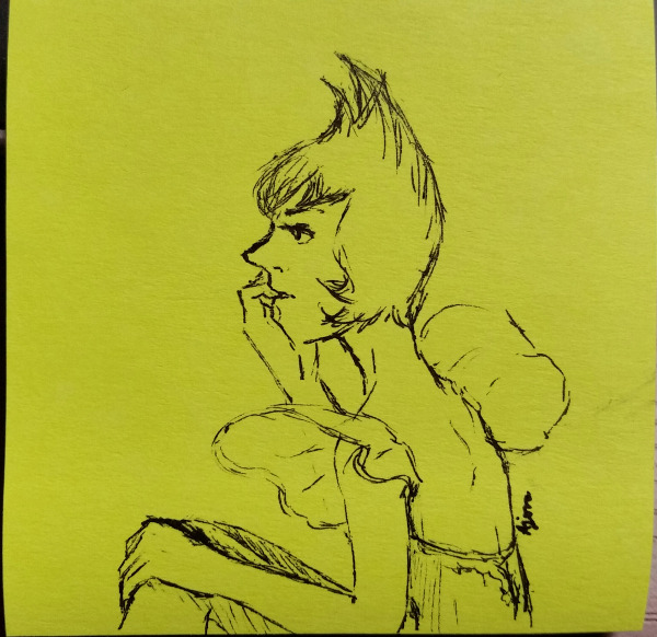 3x3″ post-it note doodle, ink only. Yellow Pearl waiting. It can't be very pleasant being around Yellow Diamond when she's unhappy.