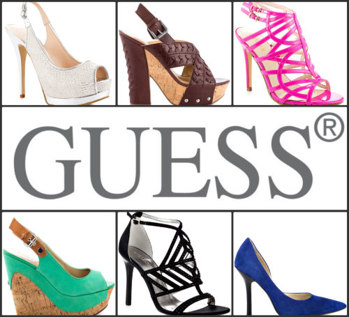 Brand Spotlight: GUESS Guess is one of today's most popular shoe brands. Guess' sleek collection of women's shoes and heels are always edgy and stylish. Guess' fresh designs continually set them apart from other designer shoe brands. Wear Guess shoes today, stand out tomorrow.