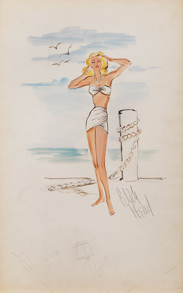 Edith Head Costume Sketch for Betty Hutton From Stork Club, 1945