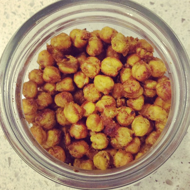 SPICY ROASTED CHICKPEAS     400g can of chickpeas (drained)   1tsp curry powder   1/2tsp cajun seasoning or cayenne pepper   1/2 teaspoon of dried ginger (optional) 1/2tbsp olive oil  Mix ingredients together then spread onto a lined baking tray for 30mins (I'd advise mixing them around at 15mins). Let cool and store in air-tight container.