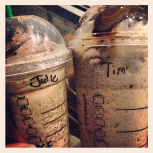"""Can I get your names please?"" ""Tim and Julie."" Tonight at Starbucks, I guess we're Tim and Julie. Chip just cracks me up.  (at Starbucks)"